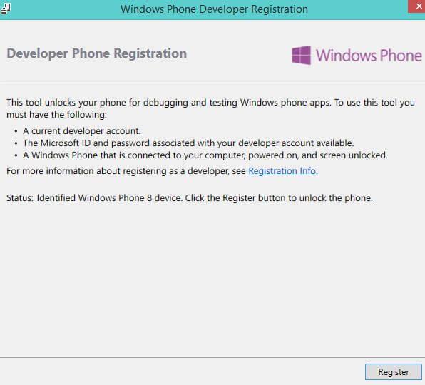 Registration Windows Phone